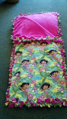 This is the no-sew sleeping bag I made.
