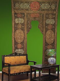 Antique Large islamic silk and metal-thread embroidered curtain wall hanging