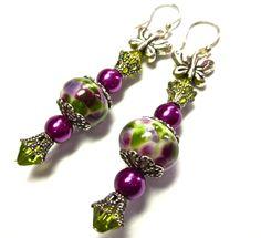 SRA lampwork beads | Lampwork Earrings with SRA Artisan Lampwork Beads, Swarovski Crystals ...