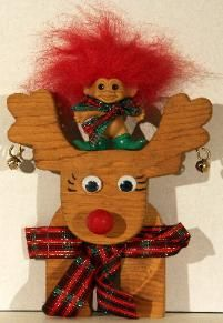 Troll Art Christmas troll with upcycled wood craft reindeer by Sigrid