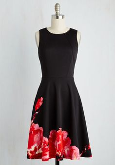 The Best to Date Dress - Black, Red, Floral, Print, Party, Cocktail, Fit & Flare, Sleeveless, Woven, Better, Mid-length, Colorsplash, Valentine's