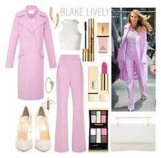 """CELEB STYLE: Blake Lively"" by riverinthedesert ❤ liked on Polyvore featuring Cushnie Et Ochs, M2Malletier, Christian Louboutin, Yves Saint Laurent, Versace, PUR, Loren Stewart, blakelively, CelebrityStyle and pinklipstick"