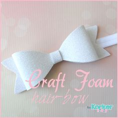 There are so many fabulous uses for glitter craft foam; why not make a hair-bow?!  We just love this sweet, girly hairbow.  Danielle attached it to a headband, but it could be worn alone on a clip as well.  What a great project for little girls to help with - bible school craft, birthday party activity.  Find how to make this hair-bow and the template on our blog.