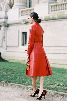 ❦ giovanna battaglia by vanessa jackman ... red leather lady trench coat