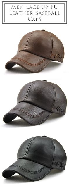 2265aa7cdf8 Men Lace-up PU Leather Baseball Caps Outdoor Winter Warm Dad Hat Adjustable  Cap