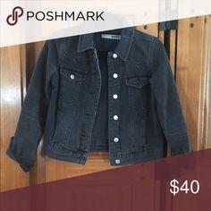 Black jean jacket Top shop crop black jean jacket Topshop Jackets & Coats Jean Jackets