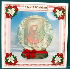 Christmas Time Snow Globe Topper on Craftsuprint designed by Sandra Carlse - made by Cheryl French - Printed onto glossy photo paper. Attached base image to 6x6 card stock using ds tape. Built up image with 1mm foam pads. - Now available for download!