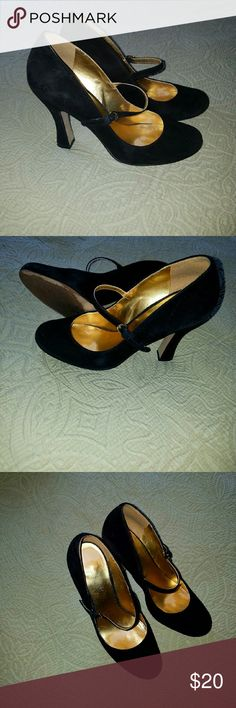 Nine West Black Suede Mary Janes Cute and comfortable modern-girl Mary Janes  Gently worn  Style: Demetra Color: Black  Adjustable buckle closure over instep. Black suede upper. Man-made lining. Lightly cushioned man-made footbed. Wrapped heel. Man-made sole. Imported. Heel Height: 4 in  Very good condition. Worn about a dozen times. Nine West Shoes Heels