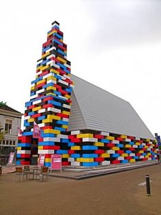 Unusual church, this temporary structure in the Netherlands. It's built not out of LEGO bricks, but Legioblocks — concrete blocks made to resemble LEGO bricks. Michiel de Wit and Filip Jonker erected it for the Grenswerk Festival in the city of Enschede. Unusual Buildings, Interesting Buildings, Amazing Buildings, Church Architecture, Amazing Architecture, Architecture Design, Cubist Architecture, Church Building, Religious Architecture