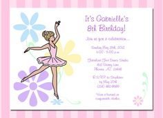 "Invite your guests to dance and twirl with these beautiful dainty floral ballerina birthday party invitations. Choose from 7 ballerinas with different skin & hair colors to create a special ballet or dance theme invitation. You can even choose the color of the tutu. Price is per card. Cards measure 5"" x 7"" and envelopes are included.  $1.25 per card"