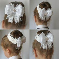 Flower Girl Hairstyles, Headband Hairstyles, Diy Hairstyles, Ribbon Hair Clips, Diy Hair Bows, Diy Ribbon, Ribbon Bows, Hair Bow Tutorial, Barrettes