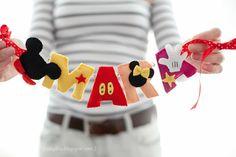ghirlanda fetru handmade Mickey, ornament nume bebelusi personalizat fetru, Mickey Mouse felt