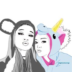 ariana grande, beauty, best friends, doodle, drawing, grunge, love ...