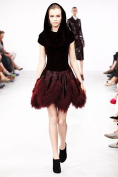 hood! Thinking dress this style, no furry stuff, with forest green and brown. azzedine alaia