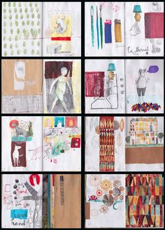 Wonderful page layouts :-) Carolina Bernal sketchbook pages