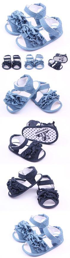 Latest take bowknot blue jean baby shoes 2016 summer baby walking shoes for the first time