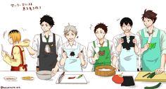 Haikyuu!! - Kenma, Akaashi, Sugawara, Moniwa, Kageyama & Oikawa   The Setter cooking Session