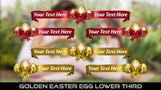 Buy Golden Easter Egg Lower Thirds by MondayMotion on VideoHive. Easter Bunny, Easter Eggs, Lower Thirds, Yellow Sun, 10 Seconds, Red Ribbon, 2 Colours, Red Gold, Joy