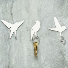 Bird Hooks - Set of metal hooks, in 3 bird silhouette designs - great for hanging keys, dog leads, tea towels or any other household object that you don't want lying around your home. Bird Silhouette, Do It Yourself Home, Wall Hooks, Key Hooks, Home Interior, Interior Design, Home Accessories, Cool Stuff, Stuff To Buy