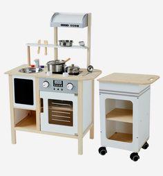 Large Wooden Kitchen + Kitchen Trolley - white bright solid with design, Toys Ikea Toy Kitchen Hack, Toy Kitchen Accessories, Cot Blankets, Kitchen Trolley, Cot Bumper, Bookcase Shelves, Wooden Kitchen, Toys, Home Decor