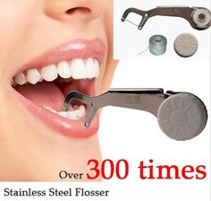 [Visit to Buy] New Eco Stainless Steel Dental Flosser Oral Hygiene Dental Floss Dentes Toothpicks 300 Times Reusable clean between Teeth #Advertisement