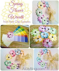Spring Flower Paint Chip Wreath - She fussy cut all those hearts, but you could save time (and aggro, in my case... lol) by using a heart punch. Super cute, and yes, very cheerful and spring-y!