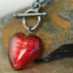 I Love You Red heart Venetian Glass Necklace 4 by southpawstudios