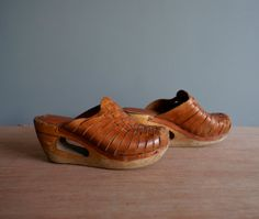 Vintage 70s Woven Leather Cut Out Wedge Heel by heightofvintage, $40.00
