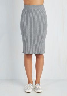 Stretch of Timeless Skirt in Ash - Grey, Solid, Work, Vintage Inspired, Scholastic/Collegiate, Pencil, Fall, Winter, Knit, Good, Long