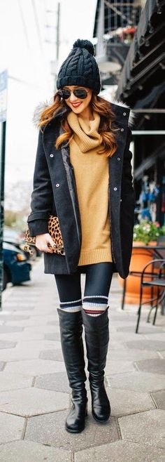 Duffle Coat With Faux Trim Hood , Cowlneck Tunic Sweater / Best LoLus Street Fashion