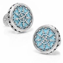 Sterling Round Scroll with Turquoise Stone Cufflinks $460