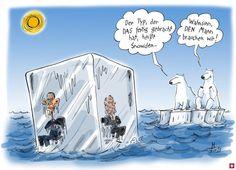 Obama und Putin treiben in einem Eisklotz auf der See und werden von Eisbären beobachtet