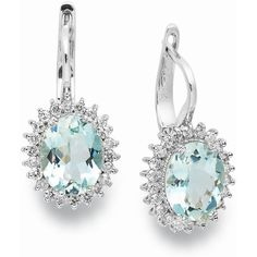 14k White Gold Earrings, Aquamarine (3-3/8 ct. t.w.) and Diamond (1/2... (5.710 BRL) ❤ liked on Polyvore featuring jewelry, earrings, no color, aquamarine jewelry, white gold aquamarine earrings, earring jewelry, aquamarine diamond earrings and diamond jewelry