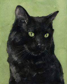 Black Cat Watercolor Painting
