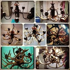 step-by-step process of the antler chandelier