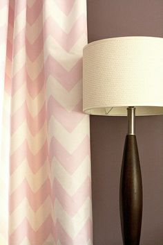 Soft Pink Chevron Curtains..hmm...would be easy to create using IKEA Rifka cream curtains and some pink paint..and a lonnnng movie, taping the chevron design lol