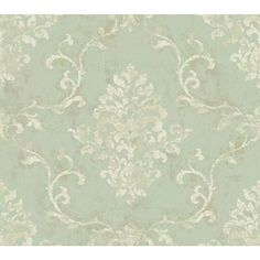 York Wallcoverings GL4620 Brandywine Damask Scroll Wallpaper, Spa Green/Soft Taupe/Off White