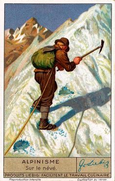 Vintage Skiing Trading Card © Vintage Winter This poster was originally a collectible trading card by Liebig. Liebig was founded in 1865 and started printing l Photo Vintage, Vintage Ski, Vintage Winter, Vintage Travel Posters, Alpine Climbing, Ice Climbing, Mountain Climbing, Lead Climbing, Mountain Gear