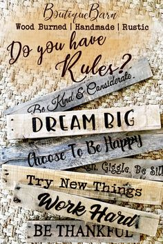 What are your family rules? Create your very own family rules! Made from reclaimed rustic wood. Handmade, each letter is wood burned just for you! #familyrules #cutomewallart #valuessign #dinningroomdecor #countryhomedecor #inourhouse