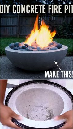 24 best outdoor fire pit ideas including: how to build wood burning fire pits and fire bowls, where to buy great fire pit kits, beautiful DIY fire pit tables a Wood Fire Pit, Fire Pit Grill, Fire Pit Bowl, Wood Burning Fire Pit, Concrete Fire Pits, Fire Bowls, Diy Fire Pit, Diy Propane Fire Pit, Fire Pit Table Top
