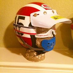 DG rocked this helmet in 1975. No custom helmet painters. You busted out your rattle can and did your own designs. #70smoto #motostyle #motocross #motocrosshistory #dgvmg #dgcollection #doityourself