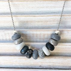 Black and grey necklace polymer clay necklace by Rubybluejewels