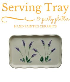 https://www.amazon.com/Rectangular-Ceramic-Scalloped-Decorative-Lavender/dp/B016X3OTX6 Oven-to-table ceramic serving tray with decorative hand painted lavender floral design. Perfect as a gift for an anniversary, birthday, housewarming, Christmas holiday and more. Flat surface to rest on ottomans, kitchen tables and more, and it's perfect for breakfast in bed. It's dishwasher, microwave and oven safe