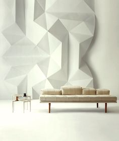 Nendo's Origami-Inspired Furniture - iDesignMe Interior Architecture, Interior And Exterior, Interior Design, Art Mural, Wall Patterns, Wall Treatments, Office Interiors, Interior Inspiration, Furniture Design