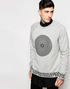 Cheap Monday | Cheap Monday Crew Sweatshirt Rules Longline Hypno Wheel Print in Grey