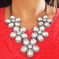 This is a pretty versatile statement necklace. Wear it with a little black dress or shorts and t-shirt.