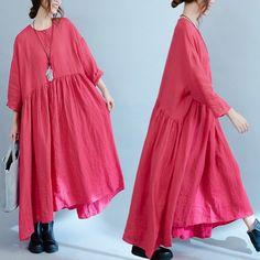 Women Casual Loose Cotton Linen Dress