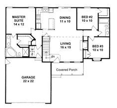 ranch house plan 62537 level one