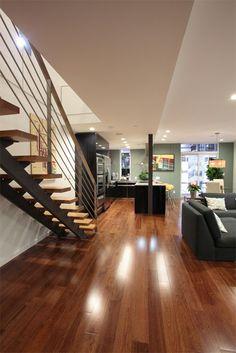 Lyptus floors, stairs are lighter wood