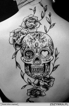 Roses and sugar skull